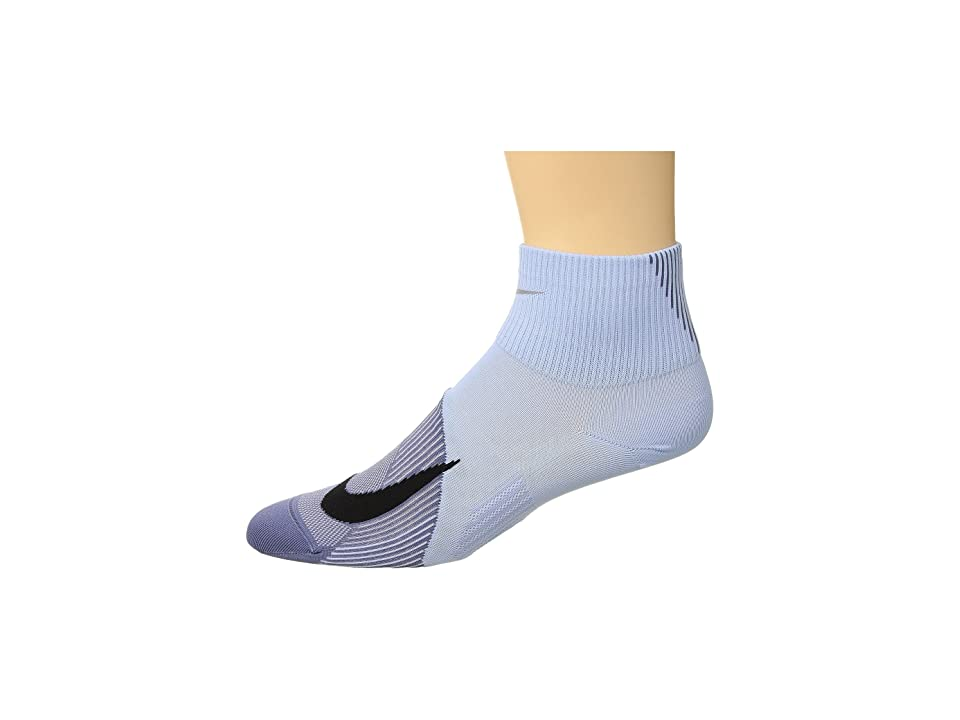 Nike Elite Lightweight Quarter Running Socks (Royal Tint/Black) Quarter Length Socks Shoes