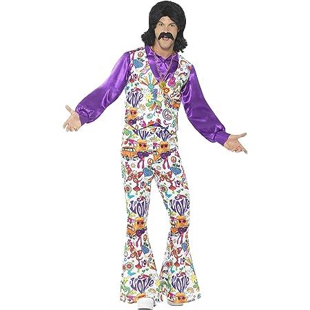 Smiffys 44904L 60s Groovy Hippie - Traje con chaleco, camisa y pantalones, Multicolor, L