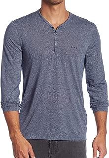 John Varvatos Star USA Men's Long Sleeve 4 Snap Melange Henley Shirt