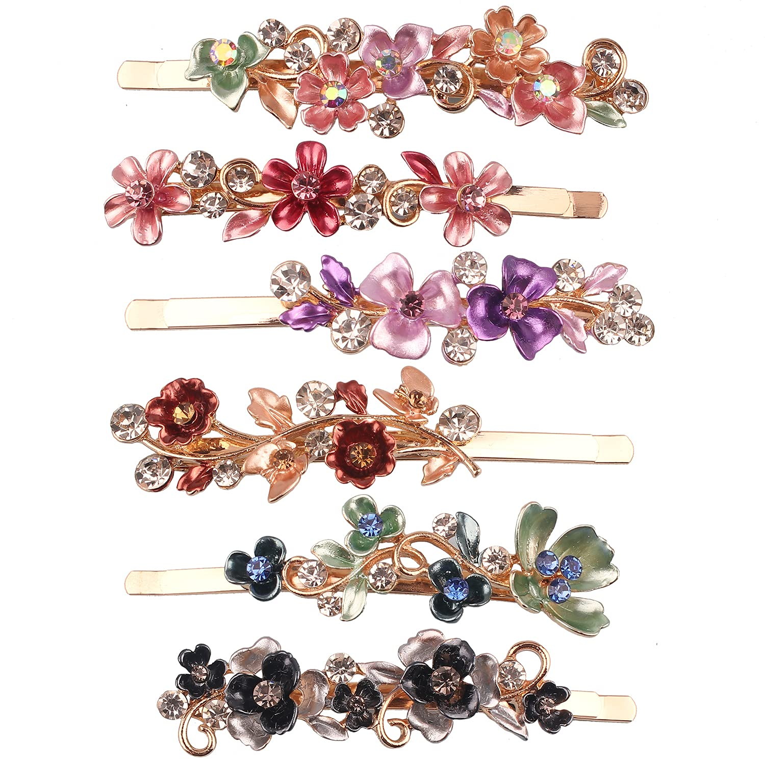 6PCS Vintage Flower Hair Discount mail order Pins Nippon regular agency Tone Colorful Gold Metal