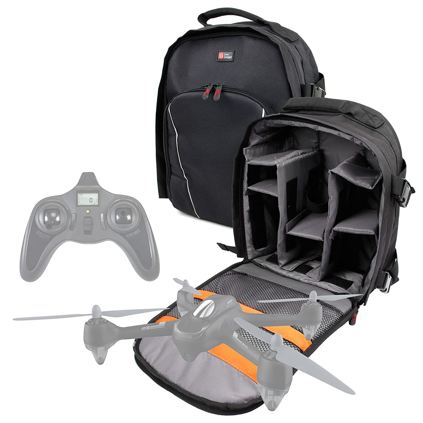 DURAGADGET Black Water-Resistant Backpack with Customisable Interior & Raincover - Compatible with The Hubsan X4 H501C BRUSHLESS|X4 H502C|X4 H502E Desire|X4 H502S FPV Desire Drone