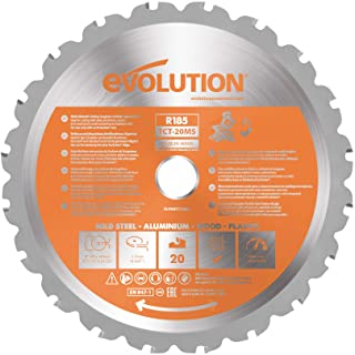 Evolution Power Tools R185TCT-20MS (Rage) Multi-Material TCT Blade Cuts Wood, Metal and Plastic, 185 mm