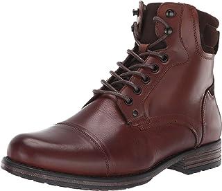 حذاء برقبة للكاحل للرجال من Steve Madden، جلد بني داكن، 8 M US