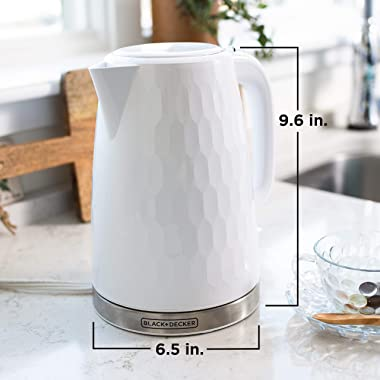 BLACK+DECKER Honeycomb Collection Rapid Boil 1.7L Electric Cordless Kettle with Premium Textured Finish, White, KE1560W