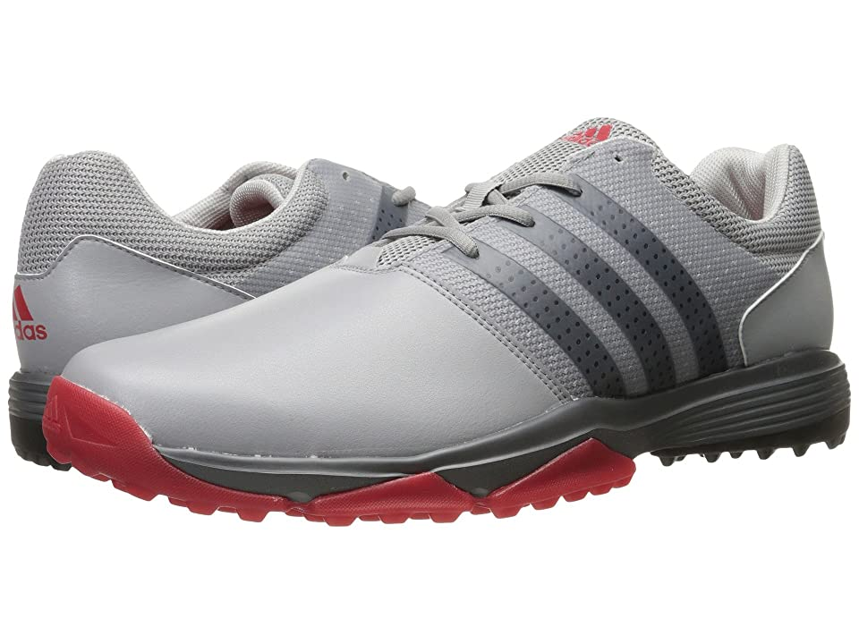 Image of adidas Golf 360 Traxion (Light Onix/Core Black/Scarlet) Men's Golf Shoes