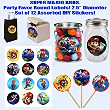 """Super Mario Bros. Stickers, Large 2.5"""" Round Circle Stickers to place onto Party Favor Bags, Cards, Boxes or Containers -12 pcs, Ninja Video Game"""