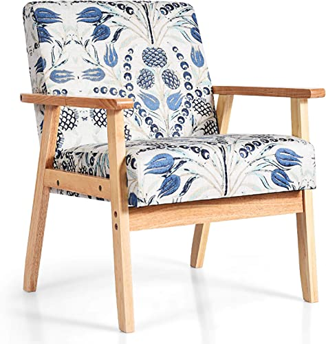 wholesale Giantex Mid Century Accent Arm Chair, Comfortable Modern Fabric Armchair online w/Rubber Wood, Pretty Pattern, online Soft Sponge, Decorative Retro Accent Chair for Living Room outlet online sale