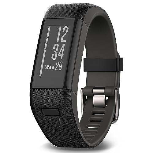 Garmin Vivosmart HR+ Fitness Band GPS con Schermo Touch, Smart Notification e Monitoraggio Cardiaco al Polso, M - L (13.7-18.8 cm), Nero