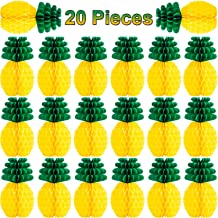 Tanlee 20 Pieces Paper Pineapples Honeycomb Centerpieces Tissue Pineapples Summer Hanging Decorations for Tropical Hawaiian Themed Party Luau Party Supplies (20 Pieces)