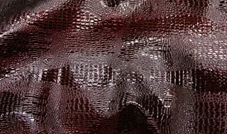 "Luvfabrics Reptile Skin Embossed Upholstery Faux Leather Vinyl Fabric by The Yard 55"" Wide (Cherry)"