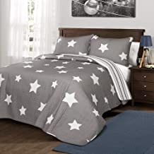 Lush Decor Star Quilt-Reversible 3 Piece Pattern Striped Bedding Set with Pillow Shams-Twin-Gray