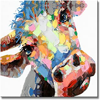FLY SPRAY 1 Panel Framed 100% Hand Painted Oil Paintings Canvas Wall Art Colorful Cattle Cow Donkey's Head Modern Abstract Artwork Painting for Living Room Bedroom Office Home Decoration