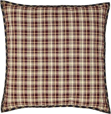VHC Brands Rustic Beckham Cotton Plaid Square Bedding Accessory, Euro Sham 26x26, Rust Red