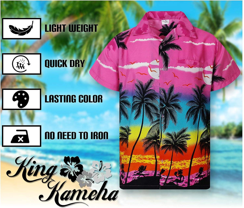 KING KAMEHA Hawaiian Shirt for Men Funky Casual Button Down Very Loud Shortsleeve Unisex Beach