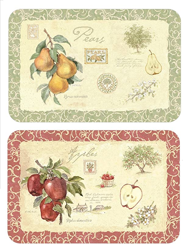 Wipe Clean Reversible Plastic Placemats Set Of 4 Old Orchard Apple Pear