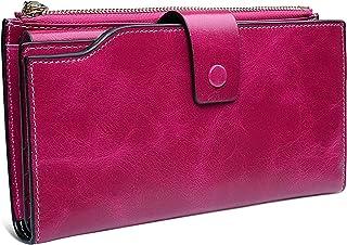 YALUXE Women's Large Leather Clutch Wallet Billfold Ladies Purse Card Holder Organizer Pink