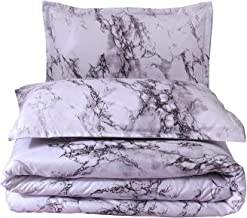 A Nice Night Closure-Printed Marble Ultra Soft Comforter Set Bed-in-a-Bag,Queen (White-Marble)