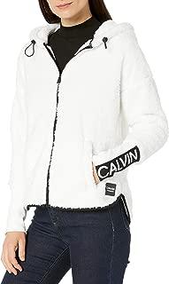 Calvin Klein Women's Calvin Logo Tapedrop Shoulder Zip Front Jacket