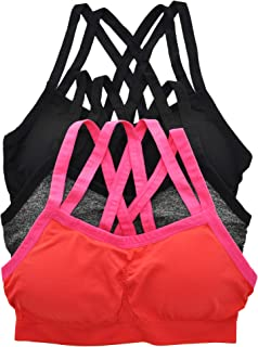 ToBeInStyle Women's 3 Pack Wirefree Seamless Sports Bra with Cross-Back