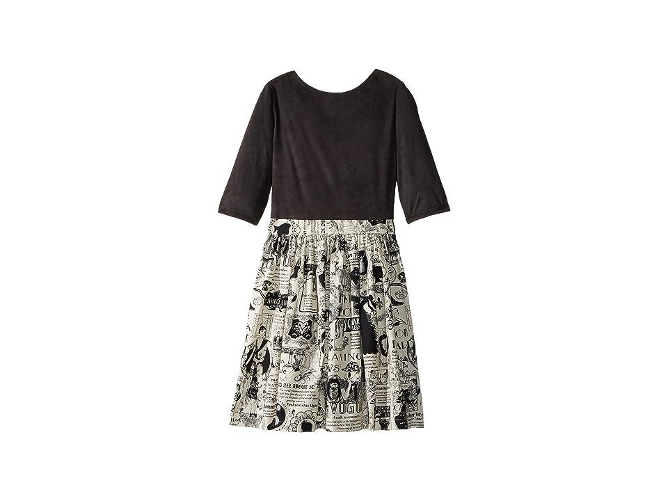fiveloaves twofish Newsprint Abbie Dress (Little Kids/Big Kids) (Black) Girl