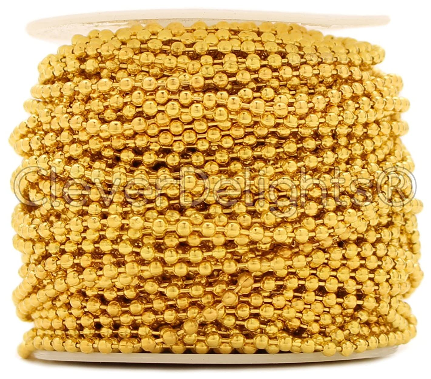 CleverDelights Ball Chain Roll - 30 Feet - Gold Color - 2.4mm Ball - #3 Size