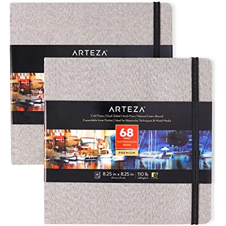 Arteza Watercolor Sketchbooks, 8.25x8.25-inch, 2-Pack, 68 Sheets, Gray Art Journal, Hardcover 110lb Paper Book, Watercolor Sketchbook for Use as Travel Journal and Mixed Media Pad
