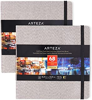Arteza Watercolor Sketchbooks, 8.25x8.25-inch, 2-Pack, 68 Sheets, Gray Art Journal, Hardcover 110lb Paper Book, Watercolor...