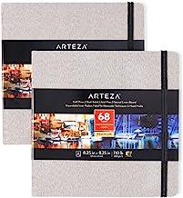 Arteza Watercolor Sketchbooks, 8.25x8.25-inch, 2-Pack, 68 Sheets, Gray Art Journal, Hardcover 110lb Paper Book, Watercolor...