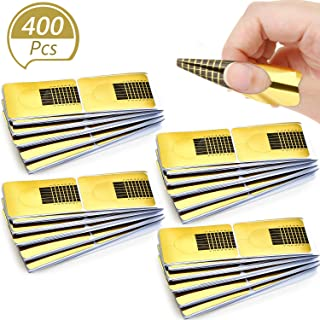 Blulu 400 Pieces Acrylic Gel Nail Art Forms Tip Nail Extension Guide Stickers French UV Gel Tools for Nails DIY Supplies at Home (Square Shaped)