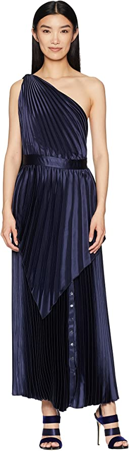 Pleated Long Dress with Scarf Detail and Snap At Hem