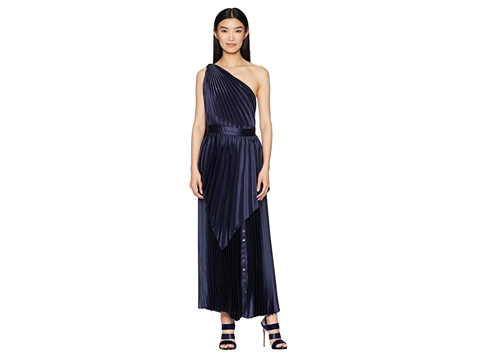 YIGAL AZROUEL Pleated Long Dress with Scarf Detail and Snap At Hem (Myst) Women