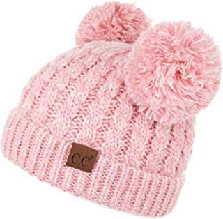 Hatsandscarf C.C Exclusives Exclusives Cable Knit Double Pom Winter Beanie (HAT-60)