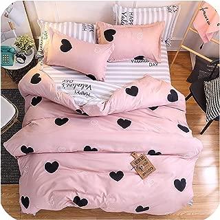 mamamoo Home Textile Pink Girl Heart Bedding Set 3/4Pcs Quilt Cover Queen Full King Size Children Cartoon Duvet Cover Bedclothes,K07,Pillowcase 2Pcs,(Flat Bed Sheet)