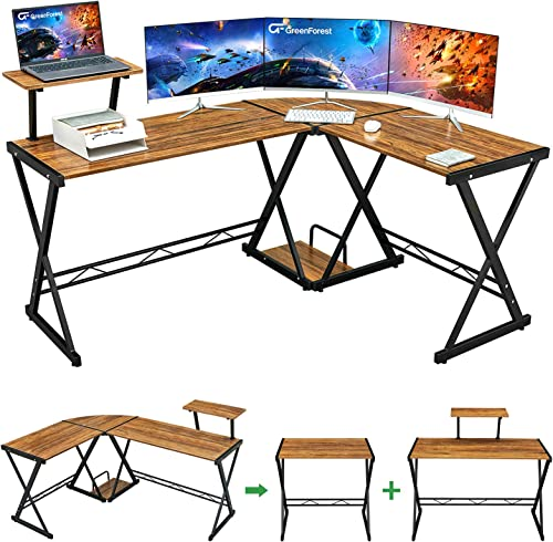 "GreenForest L Shaped Desk 64"" Large Size Reversible Corner Computer Desk with Movable Shelf and CPU Stand, Gaming Des..."
