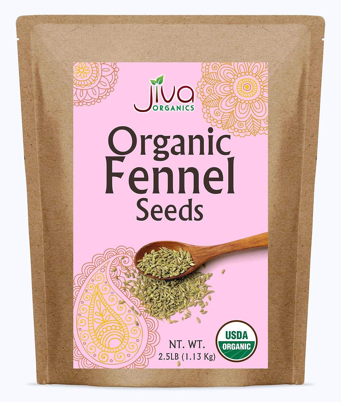 Jiva Organic Fennel Seeds 2.5 Pound Bulk Bag - Whole Seeds, Non Irradiated, Non-GMO (Foeniculum Vulgare), Raw