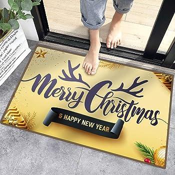 Sunshine smile alfombras de Piso,Anti Slip Baño Alfombras,Welcome Felpudo de Puerta,Tapete de Puerta Navidad con Temas,los Estera (D)