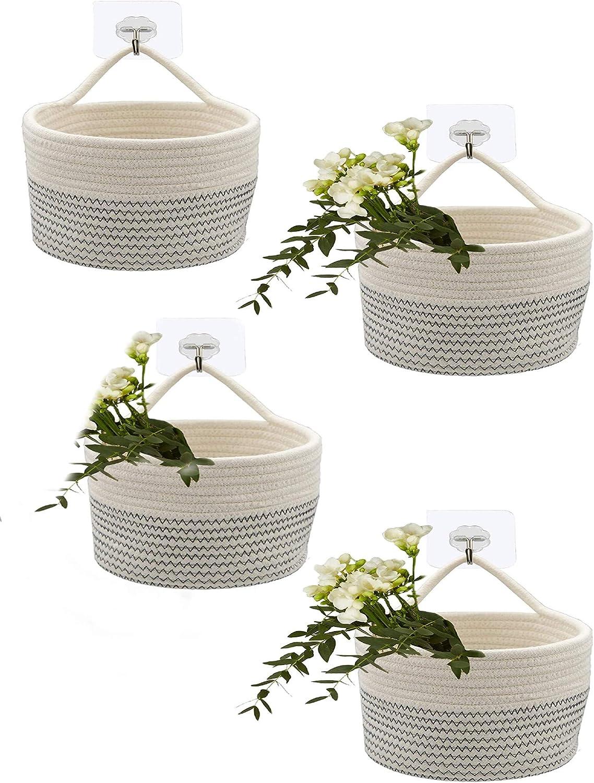 RANDIYI Wall Hanging Ranking TOP10 Rope Basket Small Cotton Max 54% OFF Baske 4-Piece