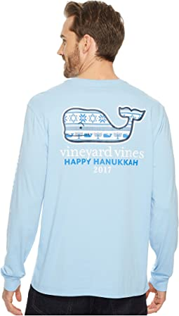 Vineyard Vines - Long Sleeve Hanukkah Fairisle Whale Pocket Tee