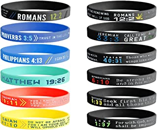 Jstyle 12PCS Silicone Wristbands Bracelets for Men Women Popular Bible Verses Faith Rubber Bracelets Religious Jewelry Gifts