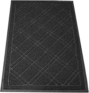 """SlipToGrip Jumbo Door Mat داخلی / بیرونی 42 """"x35"""" Black Draloop"""