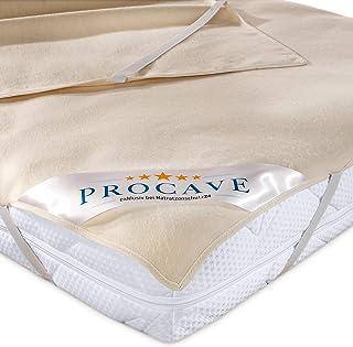 PROCAVE Nakładka na materac ze 100% bawełny, naturalny ochraniacz na materac, przepuszczający powietrze, wysokiej jakości ...
