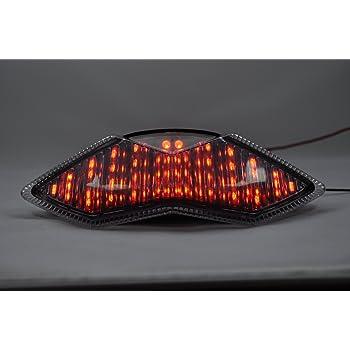 Topzone Lighting Grau Lens Motorrad Led Rücklichter Rücklicht Mit Integrierten Blinker Lampe Indikatoren Für Kawasaki 2013 2015 Zx 6r 636 Z800 Z126 Auto