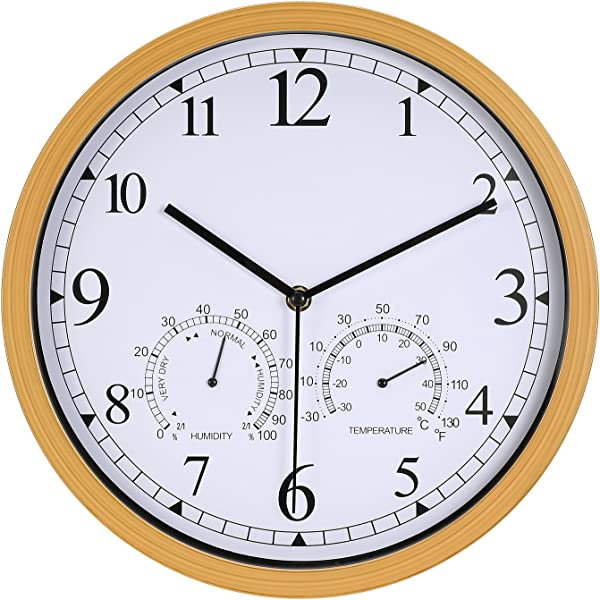 Genbaly 12 Inch Indoor Outdoor Modern Wall Clock With Temperature Humidity Silent Non Ticking Round Wall Clock Home Decor With Arabic Numerals