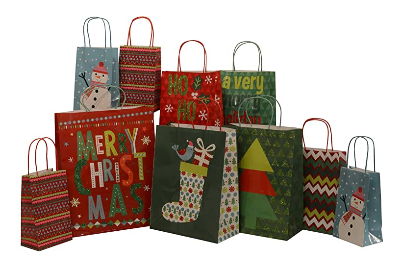 Assorted Christmas paper gift bags with glitter accents, value pack, set of 10 bags, assorted sizes
