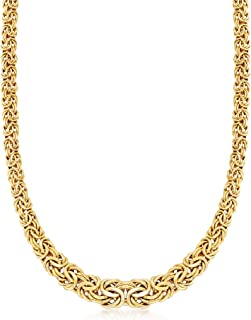 Certified 14kt Yellow Gold Graduated Byzantine Necklace
