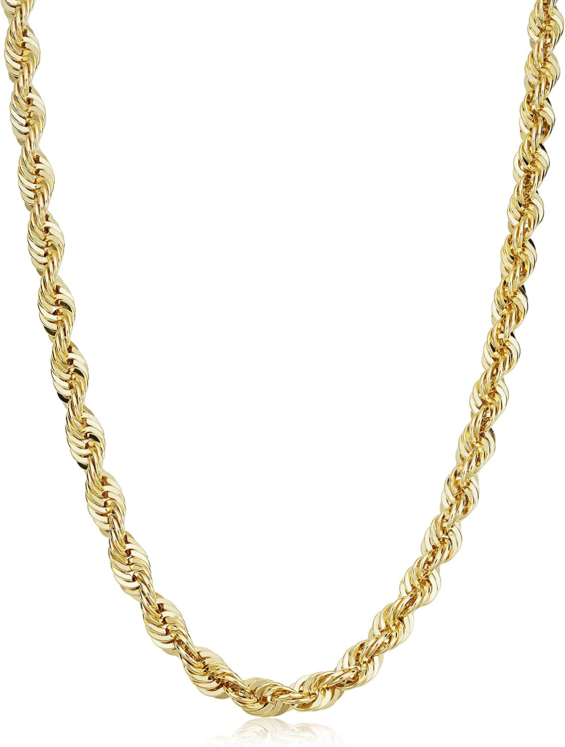 Solid 14k Yellow Gold Filled Rope Chain Necklace for Men and Women (2.1 mm, 3.2 mm, 4.2 mm or 6 mm)