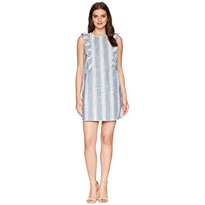 kensie Awning Stripe Dress KS5K8253 (White Combo) Women