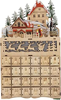 Wooden Advent Calendar - LED Light Up Festive Christmas Village, Santa, Reindeers Design, Large Holiday Treasure Box Table Decoration, 24 Numbered Drawers, Battery Operated, 8.7 x 14.1 x 3.2 Inches