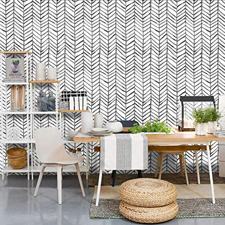 MulYeeh 17.7'' x 118'' Self-Adhesive Peel and Stick Paper Herringbone Black White Wallpaper Removable Wall Covering Prepasted Decorative