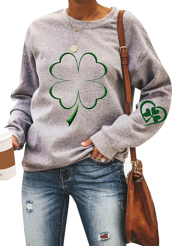 YMING Women's St. Patrick's Day Clover Print Casual Sweatshirt Long Sleeve Irish Pullover Tops